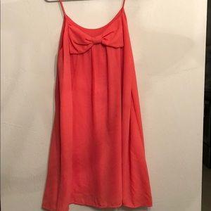 Coral bow shift dress!